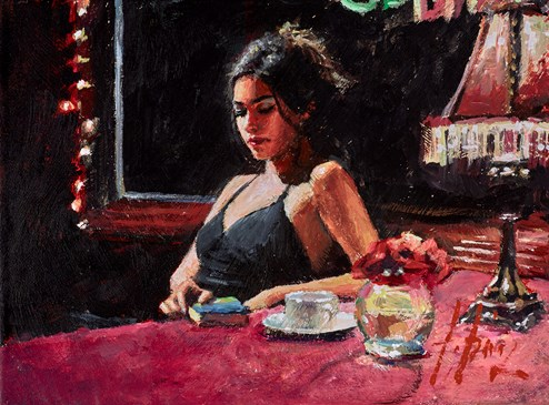 Tiffany with Tea (Black Dress) by Fabian Perez - Original Painting on Stretched Canvas